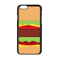 Vector Burger Time Background Apple Iphone 6/6s Black Enamel Case by Simbadda