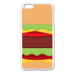 Vector Burger Time Background Apple Iphone 6 Plus/6s Plus Enamel White Case by Simbadda