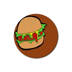 Burger Double Rubber Round Coaster (4 Pack)  by Simbadda
