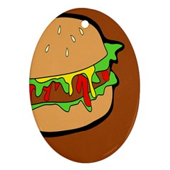 Burger Double Oval Ornament (two Sides) by Simbadda