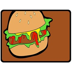 Burger Double Double Sided Fleece Blanket (large)  by Simbadda