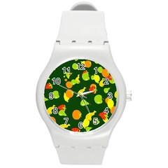 Seamless Tile Background Abstract Round Plastic Sport Watch (m) by Simbadda