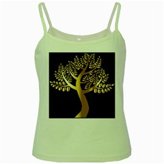 Abstract Art Floral Forest Green Spaghetti Tank by Simbadda