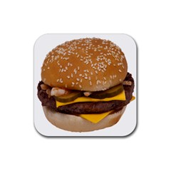 Cheeseburger On Sesame Seed Bun Rubber Coaster (square)  by Simbadda