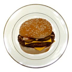 Cheeseburger On Sesame Seed Bun Porcelain Plates by Simbadda