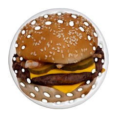 Cheeseburger On Sesame Seed Bun Ornament (round Filigree)