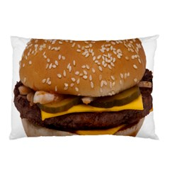 Cheeseburger On Sesame Seed Bun Pillow Case (two Sides) by Simbadda