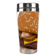 Cheeseburger On Sesame Seed Bun Stainless Steel Travel Tumblers by Simbadda