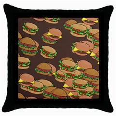 A Fun Cartoon Cheese Burger Tiling Pattern Throw Pillow Case (black) by Simbadda