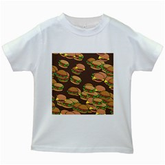 A Fun Cartoon Cheese Burger Tiling Pattern Kids White T-shirts by Simbadda