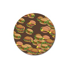 A Fun Cartoon Cheese Burger Tiling Pattern Magnet 3  (round) by Simbadda