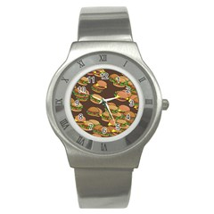 A Fun Cartoon Cheese Burger Tiling Pattern Stainless Steel Watch by Simbadda