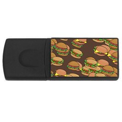 A Fun Cartoon Cheese Burger Tiling Pattern Usb Flash Drive Rectangular (4 Gb) by Simbadda