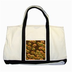 A Fun Cartoon Cheese Burger Tiling Pattern Two Tone Tote Bag by Simbadda