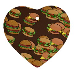 A Fun Cartoon Cheese Burger Tiling Pattern Heart Ornament (two Sides) by Simbadda