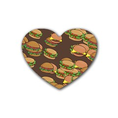 A Fun Cartoon Cheese Burger Tiling Pattern Heart Coaster (4 Pack)  by Simbadda