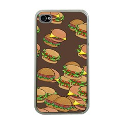 A Fun Cartoon Cheese Burger Tiling Pattern Apple Iphone 4 Case (clear) by Simbadda