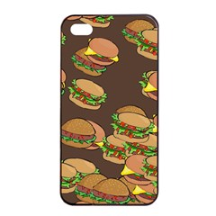 A Fun Cartoon Cheese Burger Tiling Pattern Apple Iphone 4/4s Seamless Case (black) by Simbadda