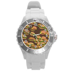 A Fun Cartoon Cheese Burger Tiling Pattern Round Plastic Sport Watch (l) by Simbadda