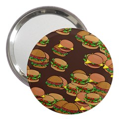 A Fun Cartoon Cheese Burger Tiling Pattern 3  Handbag Mirrors by Simbadda