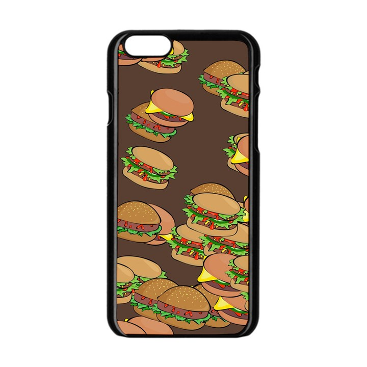 A Fun Cartoon Cheese Burger Tiling Pattern Apple iPhone 6/6S Black Enamel Case