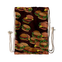 A Fun Cartoon Cheese Burger Tiling Pattern Drawstring Bag (small) by Simbadda