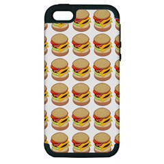 Hamburger Pattern Apple Iphone 5 Hardshell Case (pc+silicone) by Simbadda