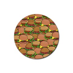 Burger Double Border Rubber Round Coaster (4 Pack)  by Simbadda
