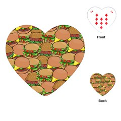 Burger Double Border Playing Cards (heart)  by Simbadda