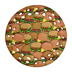Burger Double Border Round Filigree Ornament (two Sides) by Simbadda
