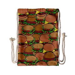 Burger Double Border Drawstring Bag (small) by Simbadda