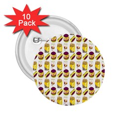 Hamburger And Fries 2 25  Buttons (10 Pack)