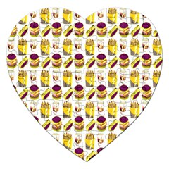 Hamburger And Fries Jigsaw Puzzle (heart) by Simbadda