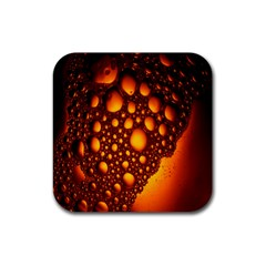 Bubbles Abstract Art Gold Golden Rubber Coaster (square)