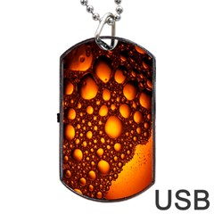 Bubbles Abstract Art Gold Golden Dog Tag Usb Flash (one Side) by Simbadda