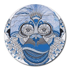 Pattern Monkey New Year S Eve Round Mousepads by Simbadda