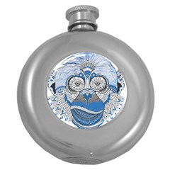 Pattern Monkey New Year S Eve Round Hip Flask (5 Oz) by Simbadda