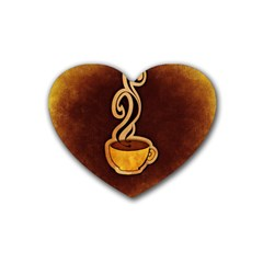 Coffee Drink Abstract Rubber Coaster (heart)  by Simbadda