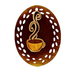 Coffee Drink Abstract Oval Filigree Ornament (two Sides) by Simbadda