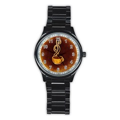 Coffee Drink Abstract Stainless Steel Round Watch