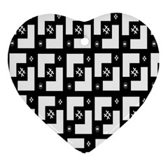 Abstract Pattern Background  Wallpaper In Black And White Shapes, Lines And Swirls Ornament (heart)