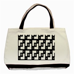 Abstract Pattern Background  Wallpaper In Black And White Shapes, Lines And Swirls Basic Tote Bag by Simbadda