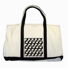 Abstract Pattern Background  Wallpaper In Black And White Shapes, Lines And Swirls Two Tone Tote Bag by Simbadda