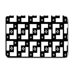 Abstract Pattern Background  Wallpaper In Black And White Shapes, Lines And Swirls Small Doormat  by Simbadda