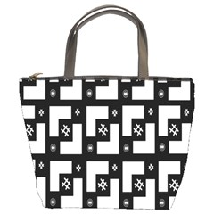 Abstract Pattern Background  Wallpaper In Black And White Shapes, Lines And Swirls Bucket Bags by Simbadda