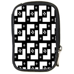 Abstract Pattern Background  Wallpaper In Black And White Shapes, Lines And Swirls Compact Camera Cases by Simbadda