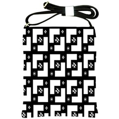 Abstract Pattern Background  Wallpaper In Black And White Shapes, Lines And Swirls Shoulder Sling Bags