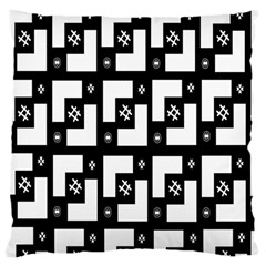 Abstract Pattern Background  Wallpaper In Black And White Shapes, Lines And Swirls Large Cushion Case (two Sides) by Simbadda
