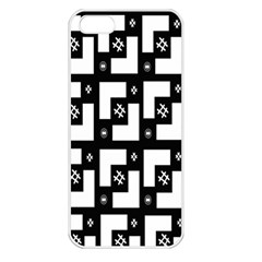 Abstract Pattern Background  Wallpaper In Black And White Shapes, Lines And Swirls Apple Iphone 5 Seamless Case (white) by Simbadda