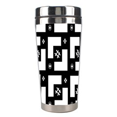 Abstract Pattern Background  Wallpaper In Black And White Shapes, Lines And Swirls Stainless Steel Travel Tumblers by Simbadda